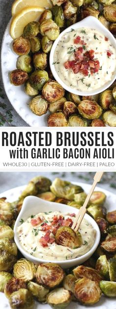 Roasted Brussels Sprouts with Bacon Aioli | healthy brussels sprouts recipes | homemade brussels sprouts | how to cook brussels sprouts | healthy side dishes | healthy appetizer recipes | whole30 appetizer recipes | gluten-free appetizers | dairy-free appetizers | paleo appetizers || The Real Food Dietitians #whole30appetizers https://www.pinterest.com/pin/143341200623806887/