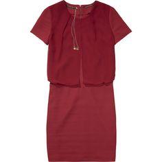 Scotch & Soda Sheer Layered Dress (195 CAD) ❤ liked on Polyvore featuring dresses, cherry red, transparent dress, short sleeve dress, sheer chiffon dress, layered dress and layered chiffon dresses