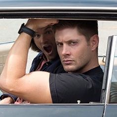 Jensen and Jared, bts, 11x04 Baby. LAWD.