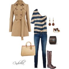 This is a good outfit the navy blue and the denim really looks good with the neutral colors