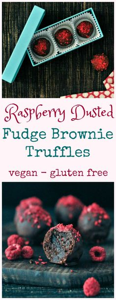 Raspberry Dusted Chocolate Fudge Brownie Truffles @spabettie #vegan #valentines #glutenfree #chocolate