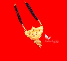 ME57, Daphne Handmade Golden Mangalsutra Necklace With Black Beads , Gift for Wife