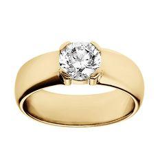 ReneSim Broad Elegant Ring with a Central Brilliant-Cut Diamond of 1.25ct   1stdibs.com