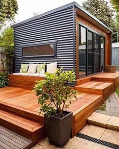 Container House Design Patio – Shipping Container US Modern Small House Design, Tiny House Design, Modern Tiny Homes, Tiny House Cabin, Tiny House Living, Living Room, Exterior Design, Home Interior Design, Interior Paint