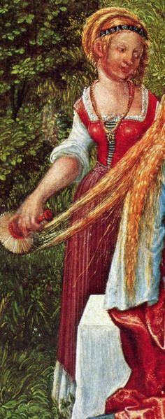 I was happy to discover that the typical ren-faire outfit of chemise + sleeveless bodice + skirt actually existed in period art, therefore probably existing in real life. Not as whorish as what you see at the ren faires, but there it is! This is German, 1500s, working class.