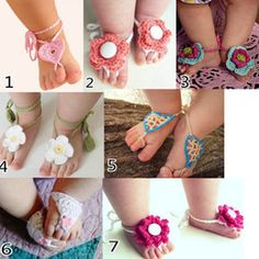 Wholesale 10pairs Sample Order TOP BABY Sandals baby Barefoot Sandals Foot Flower Foot Ties girls Toddler flower Shoes