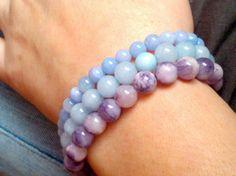 Natural blue and purple bracelet stack set - gemstones - yoga - mala - bracelets - jewelry - healing