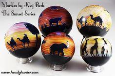 The Sunset Series by Kaj Beck (2007-2009)  #marbles #art #glass #africa #sunset #safari  I want the giraffe marble