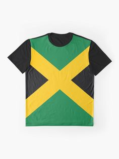 'Jamaican Flag' Graphic T-Shirt by EverythingJA Jamaica Flag, Cool T Shirts, Female Models, Vivid Colors, Caribbean, Clothing, Prints, How To Wear, Kleding