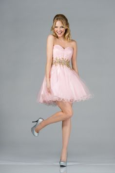 PINK SWEETHEART STRAPLESS empire waist BEADED  TULLE MESH OVERLAYED  CUTE SHORT A-LINE DRESS FOR HOMECOMING PROM AND SWEET 16
