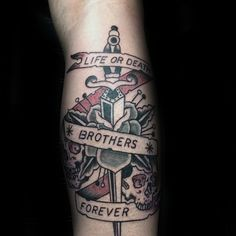 Old School Dagger Life Or Death Brothers Forever Mens Leg Tattoos