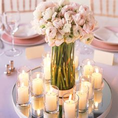 DIY Wedding Centerpiece- use the mirrors undercandles w/o flowers?