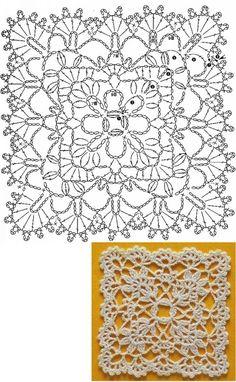 Trendy ideas for crochet blanket flower ganchillo Crochet Squares, Granny Square Crochet Pattern, Crochet Blocks, Crochet Diagram, Crochet Stitches Chart, Crochet Motif Patterns, Crochet Borders, Crochet Designs, Motifs Granny Square