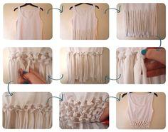 Faire des tresses sur l'extrémité d'un débardeur ou t-shirt