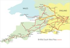 Visit the South West of the UK with the BritRail South West Pass. South West Trains, Uk Transport, Gloucester England, Cheltenham Spa, West Map, Train Map, England Map, Swansea, Exeter