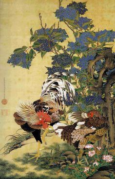 Rooster and Hen with Hydrangeas by Ito Jakuchu. Ukiyo-e. Art And Illustration, Botanical Illustration, Painting Prints, Canvas Prints, Art Prints, Block Prints, Canvas Art, Rooster New Year, Art Chinois