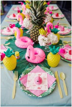 Little Girls Flamingo And Pineapple Backyard 1st Birthday Party Summer Table Decorations Pool Centerpieces