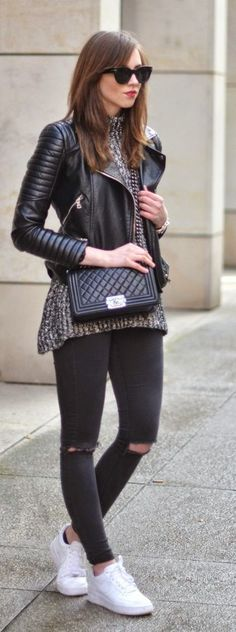 Just a pretty style | Latest fashion trends: Street style | Moto jacket, sweater, black skinnies