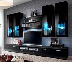Modern Tv Room Designs Ideas With Presto Modern Wall Unit Entertainment Centre Spacious and Elegant Furniture TV Cabinets TV Stands for Modern Living Room (Black) - Home Garden Tv Cabinet Design, Tv Unit Design, Tv Wall Design, Modern Tv Room, Modern Tv Wall Units, Modern Wall, Modern Living, Small Living, Living Room Wall Units