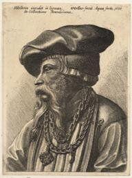 2.75 inch x 2 inch (7.5 x 5cm) Acrylic Fridge Magnet Wenceslaus Hollar - Bearded man with chain necklace
