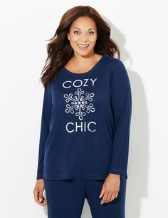 "Long-Sleeve Cozy Chic Waffle-Knit Sleep Tee | Catherines Stay festive while you sleep this holiday season with our textured, waffle knit sleep tee. The text graphic playfully reads, ""cozy chic"" with a large snowflake design in the center. Perfectly pairs with our Cozy Chic Sleep Pants and Capris. Scoop neckline. Long sleeves. For your comfort, Catherines sleepwear has been made specifically for the plus size figure. #catherines #winter #pajamas"