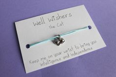 ♥ The message on the card is inspired by the charm and what it symbolises. For example : The Cat Bracelet - Keep me on your wrist you bring you Intelligence, and Independence. Friendship Jewelry, Wish Bracelets, Travel Gifts, Party Favors, My Etsy Shop, Place Card Holders, Charmed, Bridesmaid, Messages
