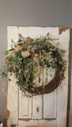 """22 """"bestseller front door wreath, greenery wreath - wreath ideal for all year round . - 22 """"bestseller front door wreath, greenery wreath – wreath ideal for all year round, everyday bur - Wreath Crafts, Diy Wreath, Grapevine Wreath, Wreath Ideas, Wreath Burlap, Wreath Bows, Decor Crafts, Tulle Wreath, Wreath Making"""