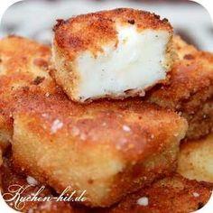 Frittierte Milch - Leche Fritta ist ein spanisches Pudding Dessert – gebackener Pudding in knuspriger Panade mit Zimt-Zuckerstreusel.Ein toller Milchkuchen.