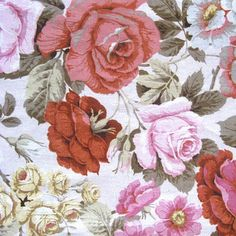 Sanderson Floral Fabric Vintage 1990s Sywncombe Pink Gray Russet Canvas Material