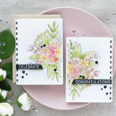 Cards by Yana Smakula using Simon Says Stamp's Floral Bliss stamp set & Daniel Smith watercolors| June 2017
