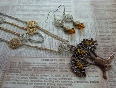 """Necklace Earring Set: Copper tree Amber rhinestones Double 25 """" chain with round silver & gold charms Silver brass earrings amber bead"""
