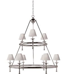Visual Comfort E.F. Chapman Classic 9 Light Chandelier in Hand-Rubbed Antique Brass SL5813HAB-NP