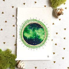Atomic Nebula in Green - original 4x6 stitched watercolor - Thumbnail 1