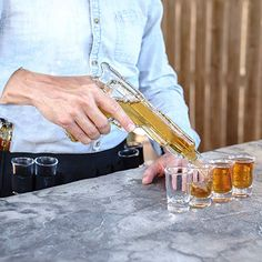 Buy Whiskey Decanter and Glass Set, 2 Unique Gun Decanters for Alcohol, 8 Shot Glasses, Holster and Carry Case- a Fun, Stylish Party and Wedding Decanter Set/Whiskey Set Funny Boyfriend Gifts, Tequila Shots, Glass Bar, Whiskey Decanter, Best Gifts For Men, Shot Glasses, Wine Gifts, Gun, Man Cave