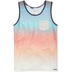 Univibe Men's Enrico Ombre Geometric Print Tank ($16) ❤ liked on Polyvore featuring men's fashion, men's clothing, men's shirts, men's tank tops, sun, mens tank tops and mens ombre shirt