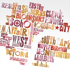 Typographic map of London areas and neighborhoods. ** link does not work **