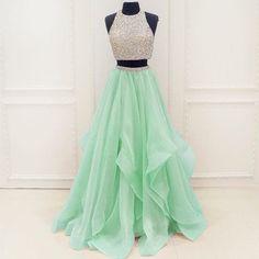 Two Pieces Rhinestone Top Mint Green Chiffon Long A-line Prom Dresses, BG0271