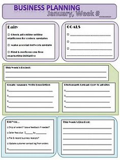 free printables small business weekly planning worksheet and small business planning overview for 2012 goals