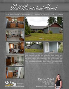 PRICE CHANGE  Single level 3 bedroom, 2 bath home on a fully fenced corner lot. Home is built in 2007 and well maintained. Home features open floor plan, formal living room and dining room, spacious kitchen with ample cabinet  Contact Kristina Zebell @ (206) 423-3989 MLS # 1140649 http://6148189thlanesw.c21.com/