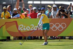 Minjee Lee of Australia hits her tee shot on the first hole during the first round of the women's golf competition in the Rio 2016 Summer Olympic Games at Olympic Golf Course.