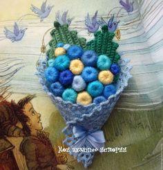Купить Брошь вязаная Букет Голубой 3 - брошка ручной работы, вязаная брошка