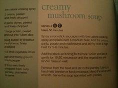 Creamy mushroom soup from Slimming World's little book of soups , Slimming World Soup Recipes, Slimming World Syns, Slimming World Mushroom Soup, Slimming World Cook Books, Creamy Mushroom Soup, Creamy Mushrooms, Stuffed Mushrooms, Processed Sugar
