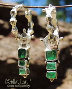 6 genuine Emeralds in 46x9x4 MM Sterling Silver by KalaKali, €230.00