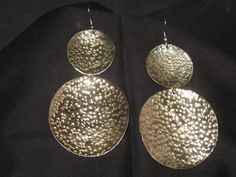 Large Round Brass dangle earrings french hook style Etsy