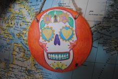 Dia De Lost Muertos festive decorative tile by aversion on Etsy