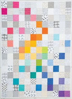 Modern Rainbow quilt by Rebecca Bryan | Blog Hop at Modern Handcraft