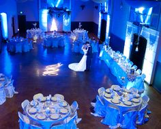 Wedding Reception Royal Blue And Silver Wedding Decorations Royal Blue Wedding Decorations, Blue Wedding Receptions, Wedding Reception Decorations, Wedding Themes, Wedding Centerpieces, Uplighting Wedding, Wedding Ideas, Wedding Parties, Reception Ideas