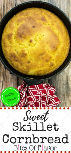 Sweet Skillet Cornbread-Fluffy cornbread with a layer of corn kernels & a touch of sweetness is the perfect side for any gumbo, stew, or chili. Weight Watchers friendly recipe. www.bitesofflavor.com
