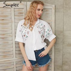 Embroidery white shirt women Flare sleeve