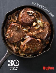 Try your hand at this Pan-Seared Filet Mignon recipe and you'll be hooked on using cast-iron skillets for everyday cooking. Cast Iron Filet Mignon, Pan Seared Filet Mignon, Seafood Recipes, Beef Recipes, Skillet Steak, Tenderloin Steak, Iron Skillet Recipes, Cast Iron Cooking, Skillet Cooking